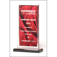 A6873 Clear acrylic award with deep red draped satin pattern and silver mirror border on a black acrylic base with red mirror top.