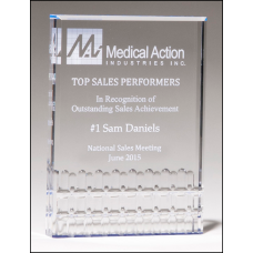 A6937 Classic Series freestanding clear acrylic award with blue highlights.