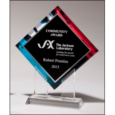 A6966 Diamond Series acrylic printed stained glass pattern border, silver mirror highlights with black center and clear acrylic stand.