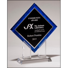 A6974 Diamond Series acrylic printed blue border, silver mirror highlights with black center and clear acrylic stand.