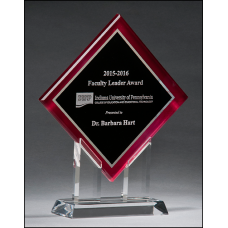 A6989 Diamond Series acrylic printed red border, silver mirror highlights with black center and clear acrylic stand.