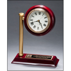 BC1000 Rail station style desk clock on rosewood finish high gloss base.