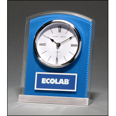 BC1007 Glass Clock with Blue Carbon Fiber Design on Aluminum Base Silver bezel, white dial, three-hand movement.