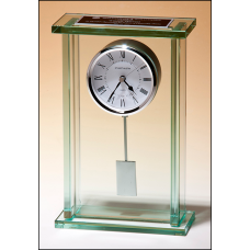 BC1012 Large glass pendulum clock, three hand movement with white dial.