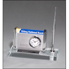 BC1023 Clock, Pen and Business Card Holder on Clear Glass Base