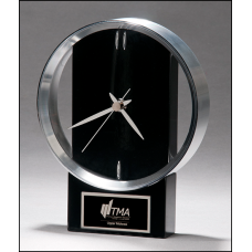 BC1025 Modern Design Clock brushed silver bezel on black high gloss base.