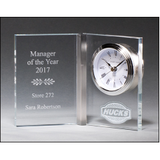 BC1031 Clear Glass Book Clock.