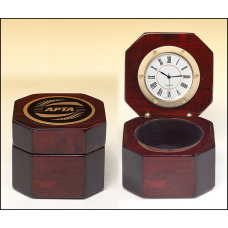 BC521 Rosewood piano-finish desktop clock with velour lined storage area.