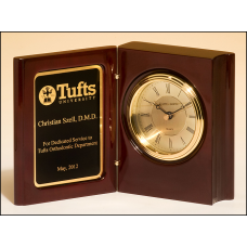 BC834 High gloss rosewood piano-finish book clock with diamond-spun dial and three hand movement.
