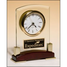 BC872 Beveled glass desktop clock, rosewood piano-finish base with gold metal accents.
