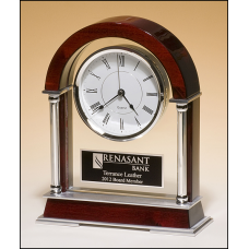 BC879 Mantle clock with rosewood piano-finish wood, chrome-plated posts and brushed silver aluminum accents.