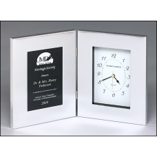 BC89 Polished silver aluminum clock with black aluminum engraving plate.
