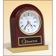 BC925 Rosewood piano-finish clock with gold metal base.
