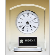 BC961 Acrylic clock with polished silver aluminum base. Silver bezel, white dial, three-hand movement.