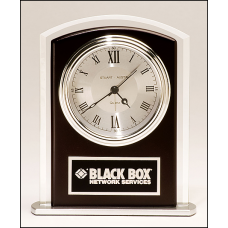 BC965 Beveled glass clock with wood accent, silver bezel and dial, three hand movement.