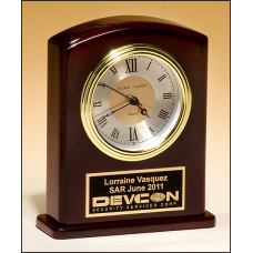BC970 High gloss rosewood finish clock, diamond-spun dial and three hand movement.