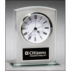 BC985 Glass clock with frosted top polished edges and base.