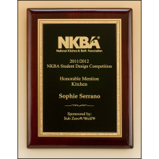 P5007 Rosewood piano-finish plaque featuring a gold florentine border with textured black center engraving plate.