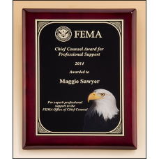 P5059 Rosewood piano-finish plaque with high definition eagle head plate.