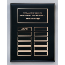 P5062 Black stained piano finish perpetual plaque with 12 plate combination.