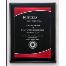 P5080 Acrylic plate with red border on black piano-finish plaque