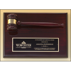 PG4470 Rosewood stained piano finish gavel plaque