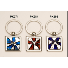 PK296 Violet and white art glass decorated key ring.