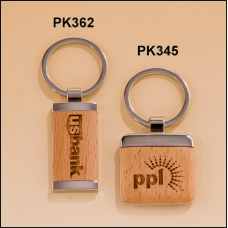 PK345 Silver key rings with Maple wood inserts.