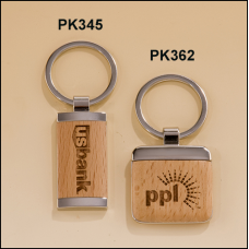 PK362 Silver key rings with Maple wood inserts.