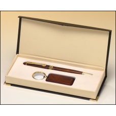 PKC6400 Rosewood-finish pen and key ring set.