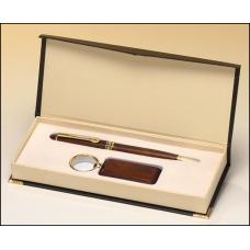 PKC6400 Rosewood-finish pen and key ring set.
