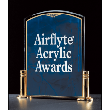 "A1850SA Airflyte Marble Design Series 3/16"" thick sapphire acrylic award on a gold metal base with columns."
