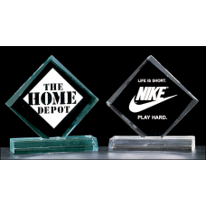 "A3345 Small Diamond series 3/4"" thick acrylic award on acrylic base available in jade or clear acrylic."