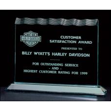 "A6432 Tidal Series 3/4"" thick polished acrylic award on acrylic base."