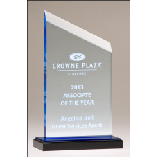 A6911 Zenith Series acrylic award. Clear upright with blue accents, black acrylic base with blue mirror top.
