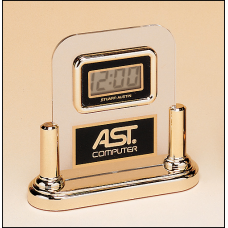 BC2 Acrylic Airflyte clock with LCD movement on a gold base.