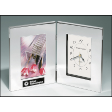BC21 Combination clock and photo frame in polished silver aluminum.