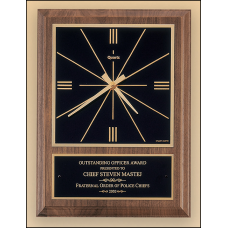 BC257 American walnut vertical wall clock with square face.