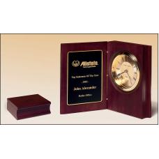 BC57 Hand-rubbed rich mahogany finish book clock, gold spun dial, three hand movement.