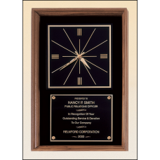 BC612 American walnut wall clock that can hang in either a vertical or a horizontal position.
