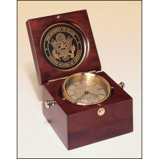 BC73 Captain's Clock with solid brass clock housing in a hand rubbed mahogany-finish case.