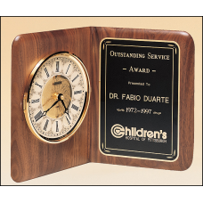 BC8 American walnut clock with a brass diamond-spun bezel with glass lens and ivory dial.
