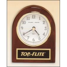 BC892 Rosewood stained piano finish desk clock with three hand movement.