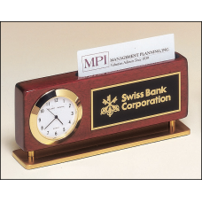 BC893 Rosewood stained piano finish combination clock and business card holder with gold metal accents.