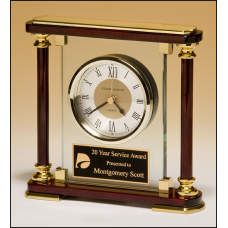 BC956 Traditional glass and rosewood piano-finish clock with gold metal accents.