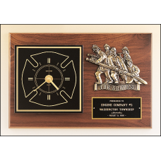 BC96 Firematic award with antique bronze finish casting and clock.