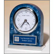 BC980 Acrylic clock with polished silver aluminum base. Silver bezel, white dial, three-hand movement.