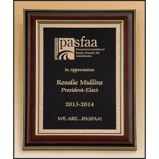 P5301 High gloss mahogany stained frame with gold florentine border plate
