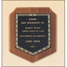 P102 American walnut plaque with a black brass plate.