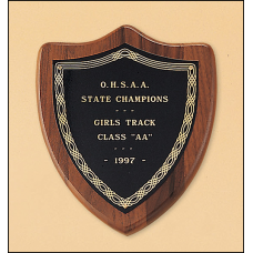 P106 American walnut plaque with a black brass plate.